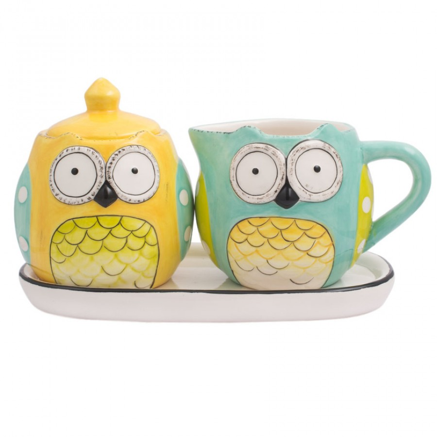 Buy Wide Eyed Owls Sugar & Milk Jar Set Online