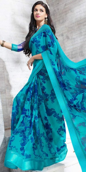 Buy Impeccable Blue Georgette Printed Saree. Online