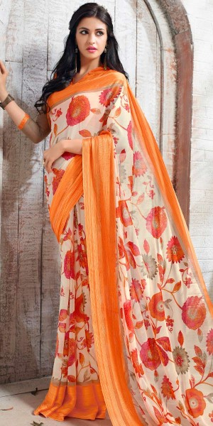 Buy Blissful Orange And Off-White Georgette Printed Saree. Online