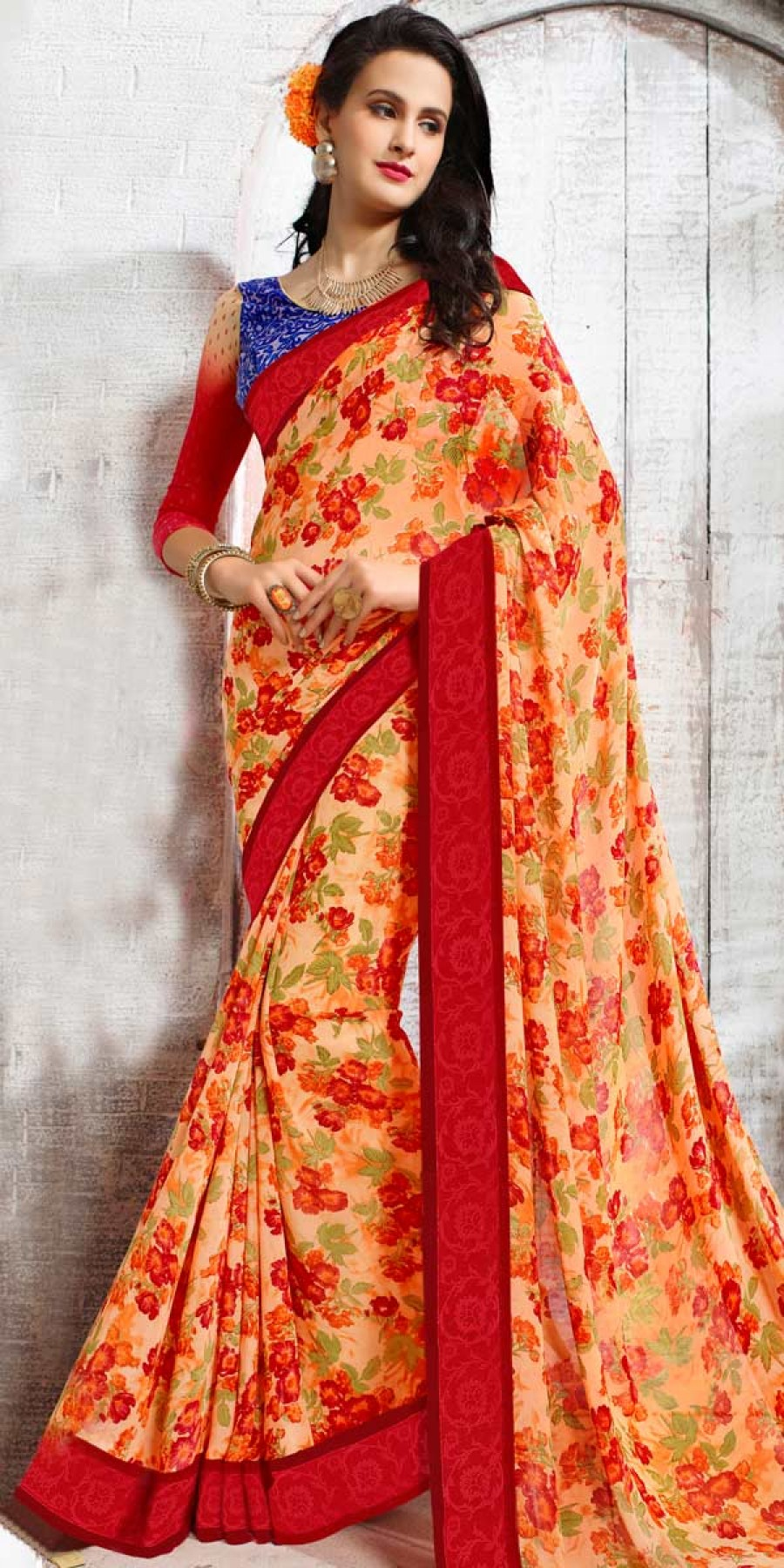 Buy Wondrous Red And Multi-Color Georgette Printed Saree. Online