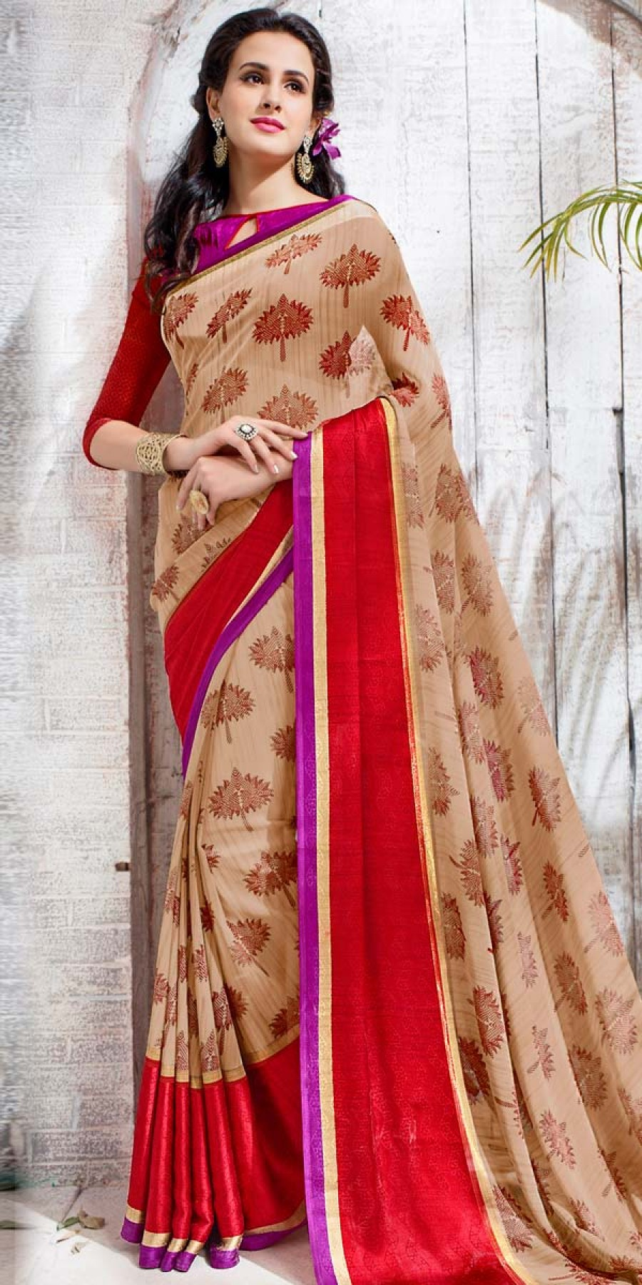 Buy Stupendous Beige And Multi-Color Georgette Printed Saree. Online