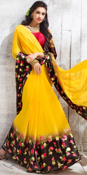 Buy Modish Yellow And Red Georgette Printed Saree. Online