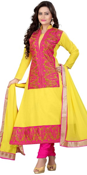 Buy Delightful Yellow And Pink Desinger Anarkali Suit With Dupatta. Online