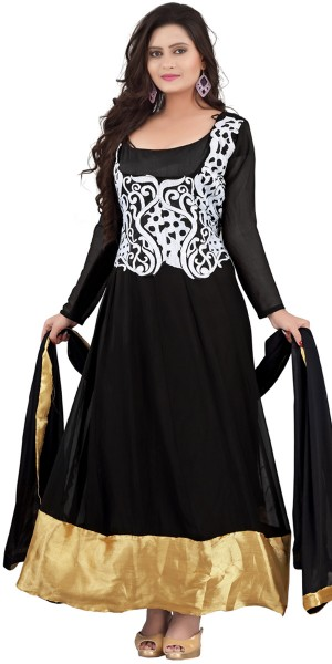 Buy Teriffic Black And White Desinger Anarkali Suit With Dupatta. Online