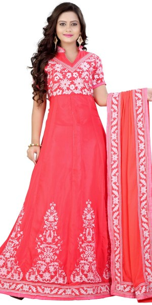 Buy Sparkling Peach And White Desinger Anarkali Suit With Dupatta. Online