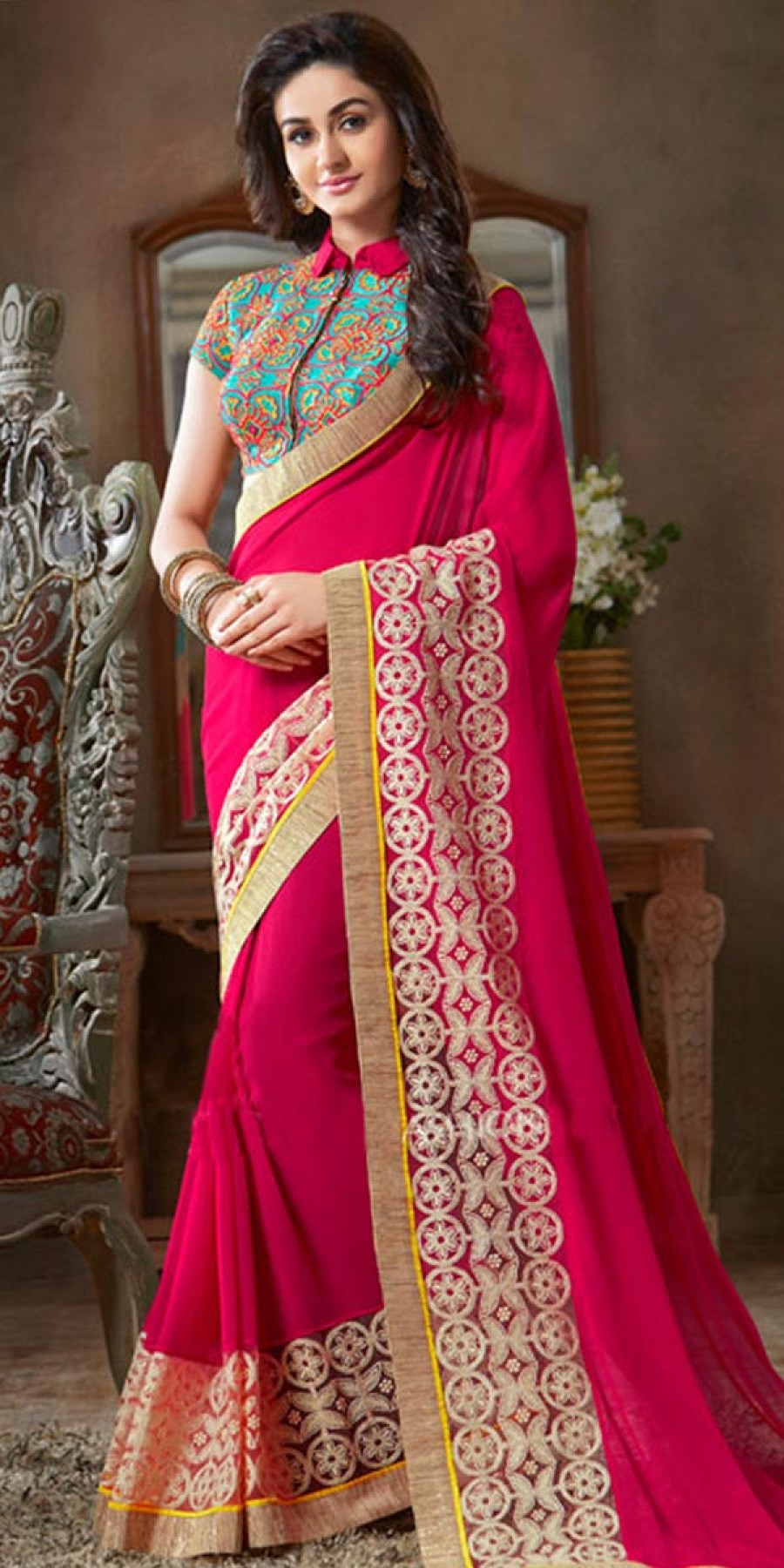 Buy Glorious Pink And Blue Georgette Saree. Online