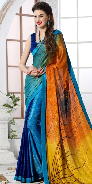 Buy Stunning Orange And Multi-Color Silk Printed Saree. Online