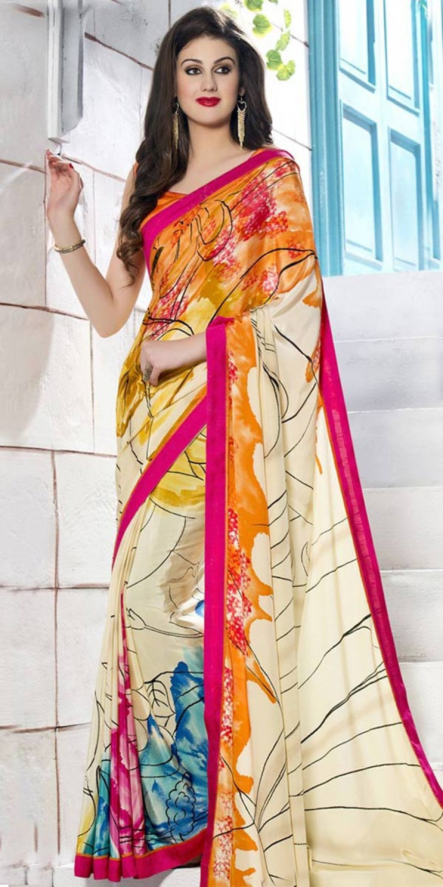 Buy Lovely Off-White And Multi-Color Silk Printed Saree. Online