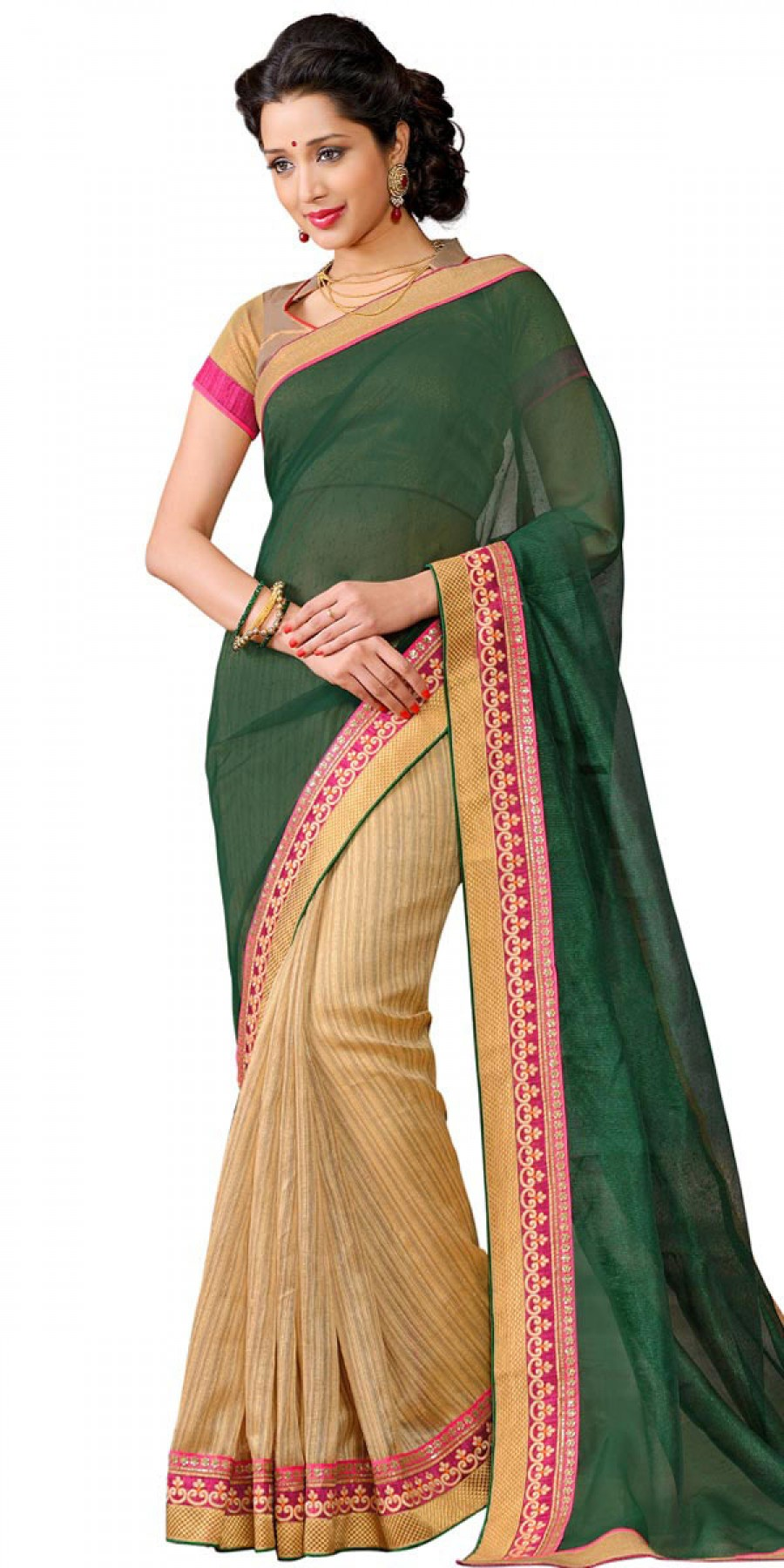 Buy Mystical Green And Cream Cotton Saree With Blouse. Online