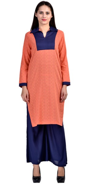 Buy Stunning Peach And Navy Blue Rayon Long Kurti With Plazzo Pant. Online