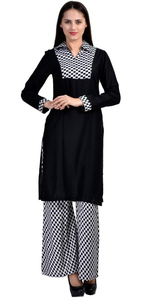 Buy Awesome Black And White Rayon Long Kurti With Plazzo Pant. Online