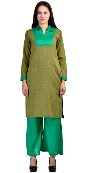 Buy Georgeous Green Rayon Long Kurti With Plazzo Pant. Online