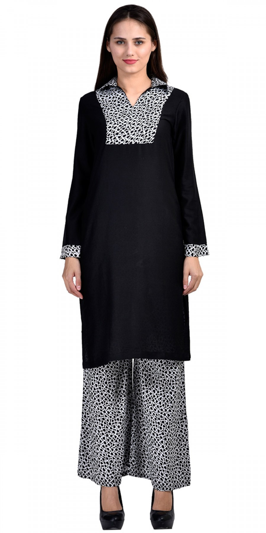 Buy Stunning Black And White Rayon Long Kurti With Plazzo Pant. Online