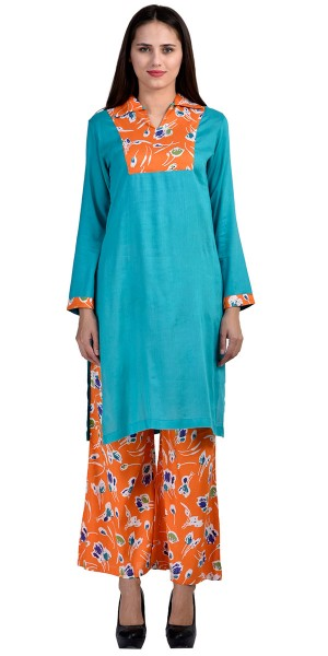 Buy Marvelous Blue And Orange Rayon Long Kurti With Plazzo Pant. Online
