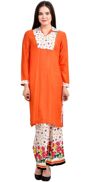 Buy Alluring Orange And Off-White Rayon Long Kurti With Plazzo Pant. Online