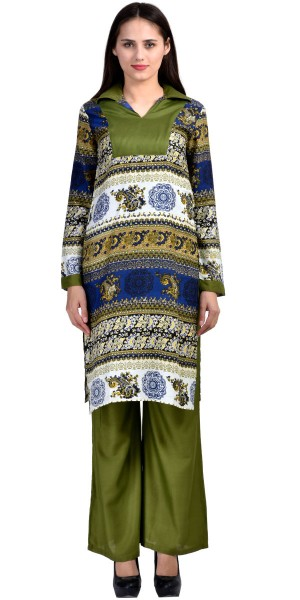Buy Pretty Green And Multi-Color Rayon Long Kurti With Plazzo Pant. Online