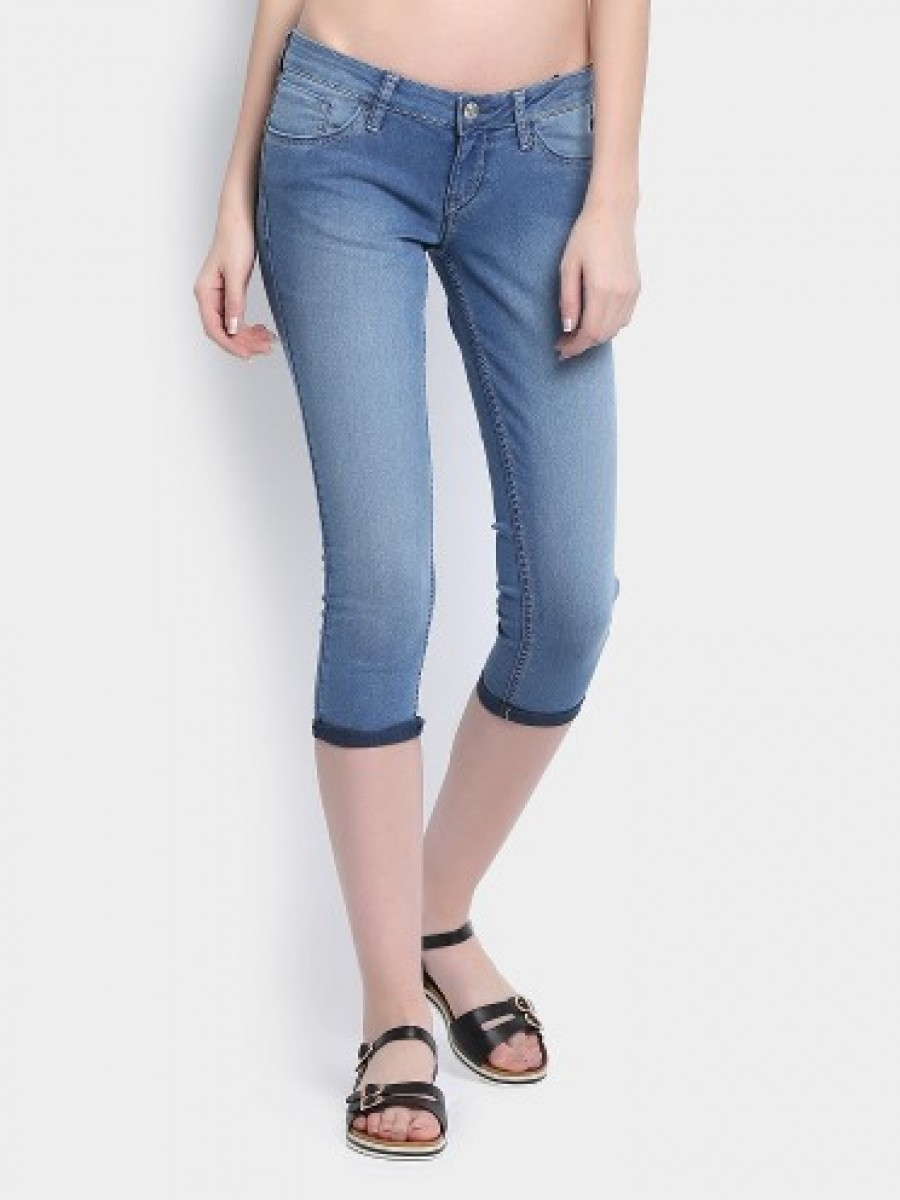 Buy Lee Women Pepy Blue Cropped Skinny Fit Jeans Online
