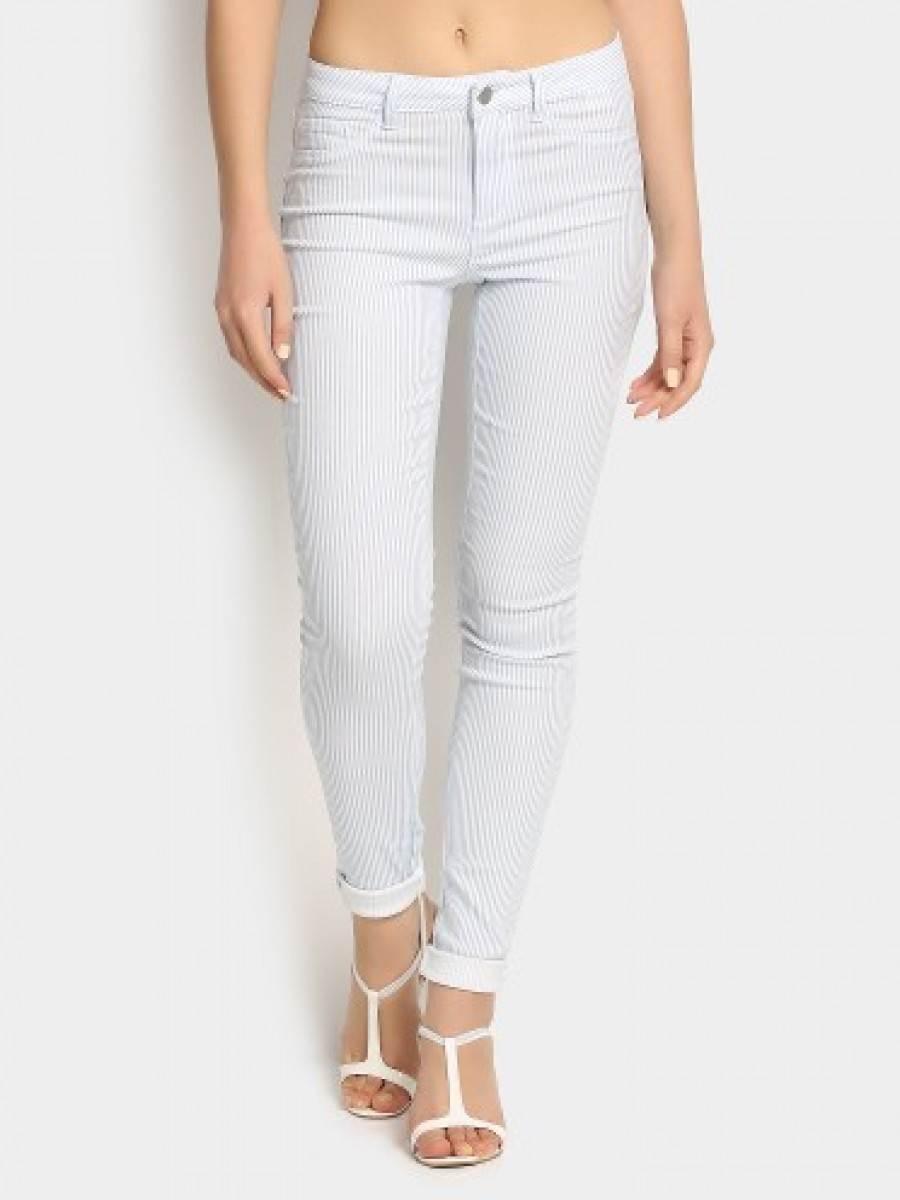 Buy Only Women Light Blue Striped Skinny Fit Jeggings Online