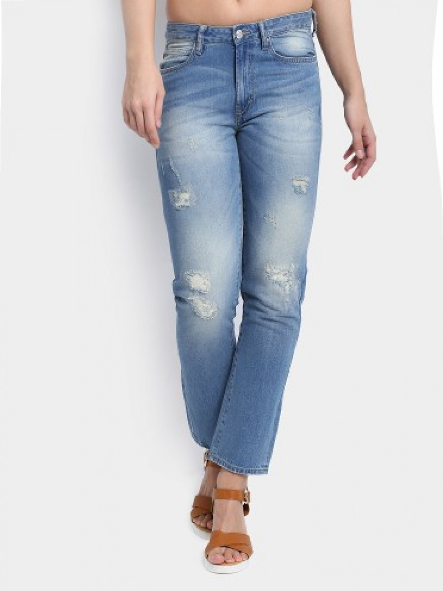 Buy Lee Women Kendell Blue Distressed Slim Fit Jeans Online