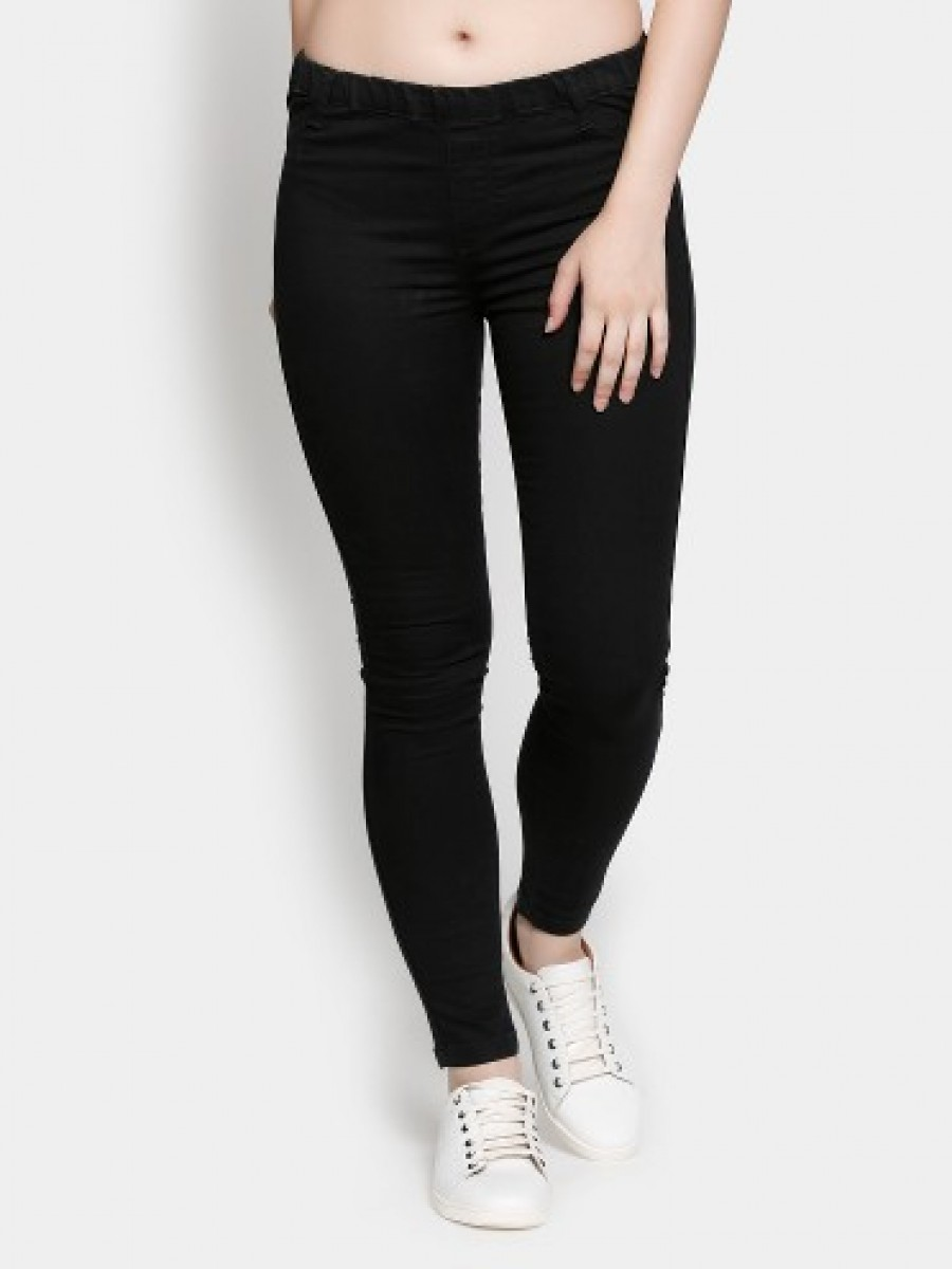 Buy abof Women Black Stretchable Skinny Fit Jeggings Online