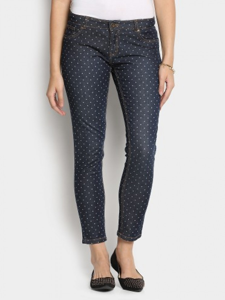 Buy abof Women Dark Blue Dot Print Skinny Fit Jeans Online