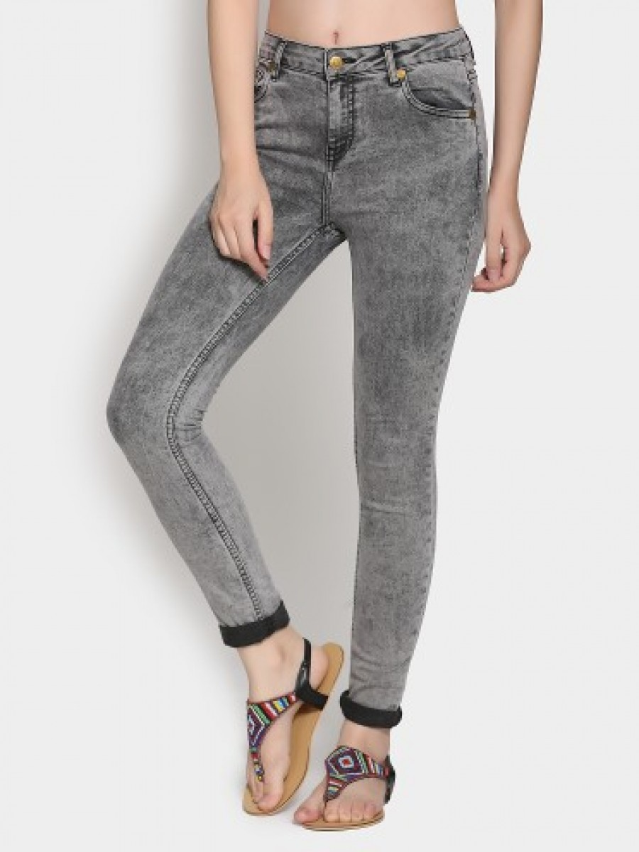 Buy abof Women Grey Cloud Washed Skinny Fit Jeans Online