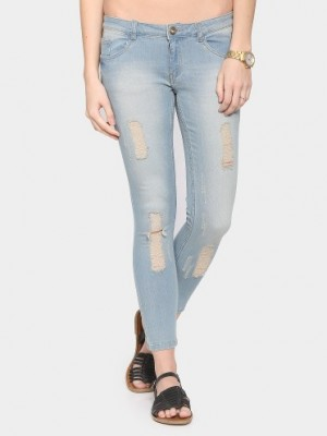 Buy Bossini Women Sky Blue Regular Fit Distressed Jeans Online