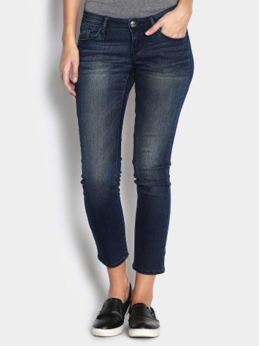 Buy Lee Women Indigo Blue Cropped Amy Skinny Fit Jeans Online