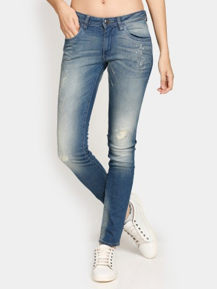 Buy Online|Lee Women Abyss Blue Regular Fit Distressed Jeans | 509950