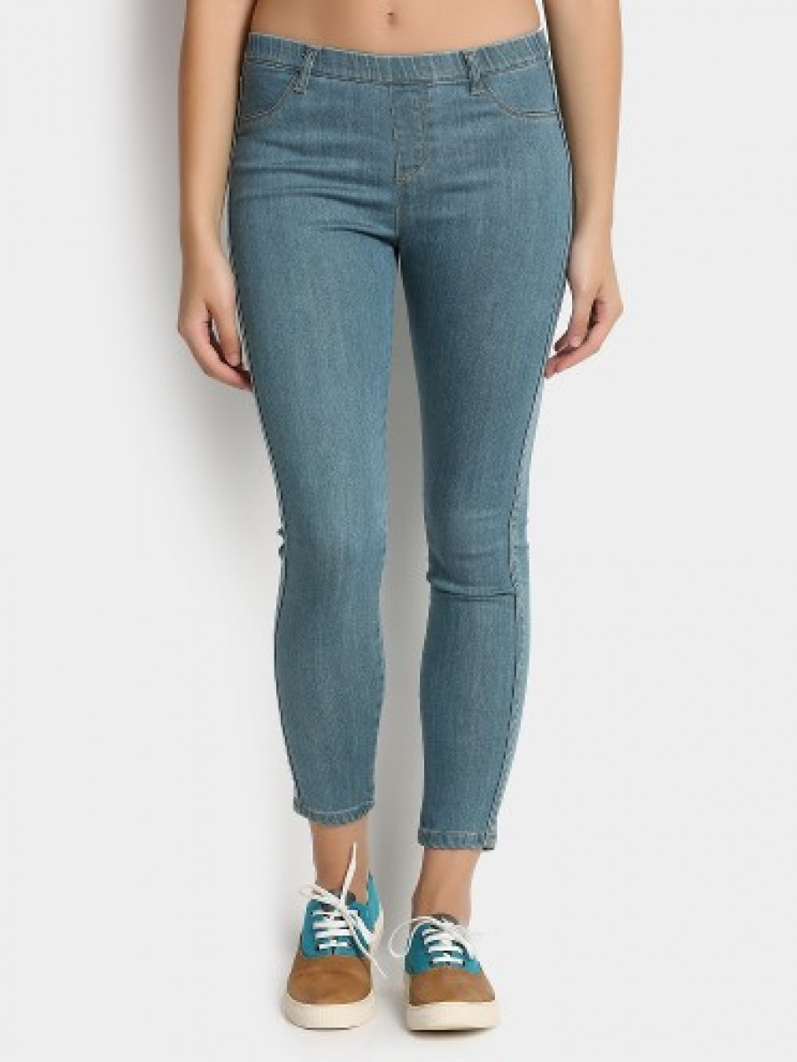 Buy abof Women Light Blue Stretchable Skinny Fit Cropped Jeggings Online