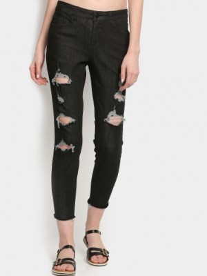 Buy Only Women Black Distressed Skinny Fit Jeans Online