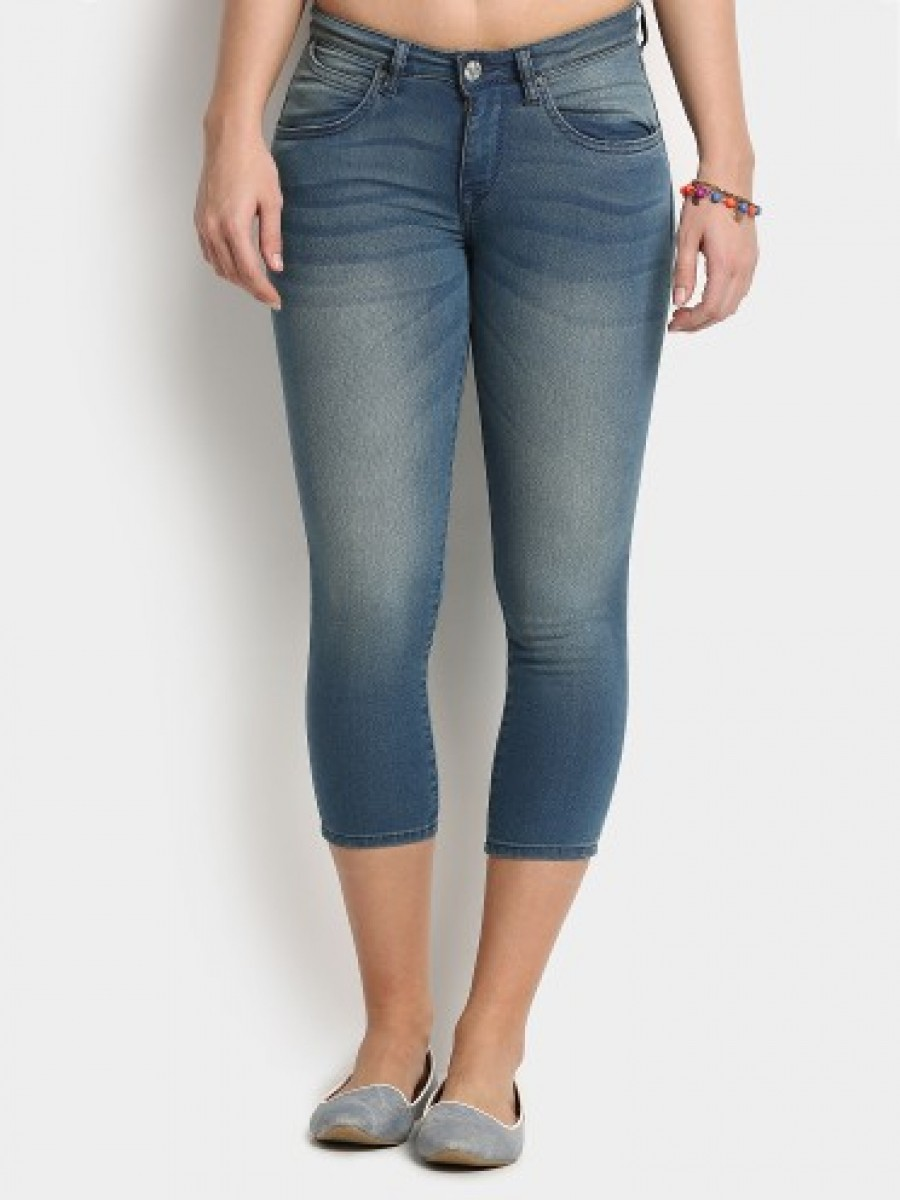 Buy Lee Women Perry Blue Cropped Skinny Fit Jeans Online