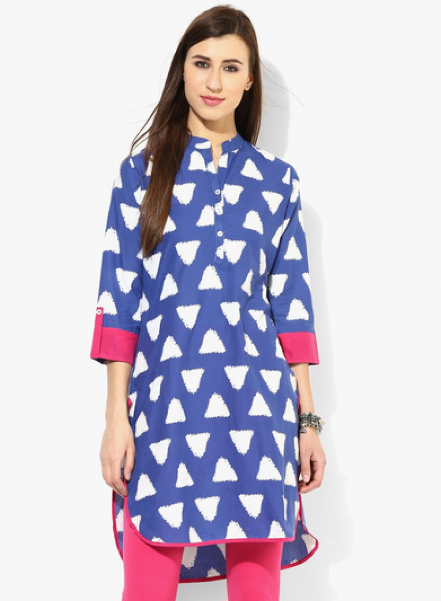 Buy Sangria Band Collar Triangle Printed Kurta With 3/4Th Sleeves Online
