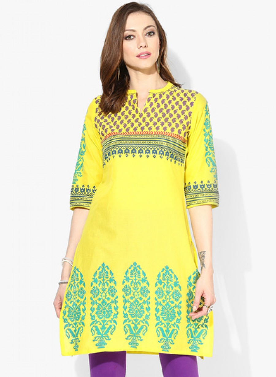 Buy Sangria 3/4Th Sleeves Center Front Kurta Online