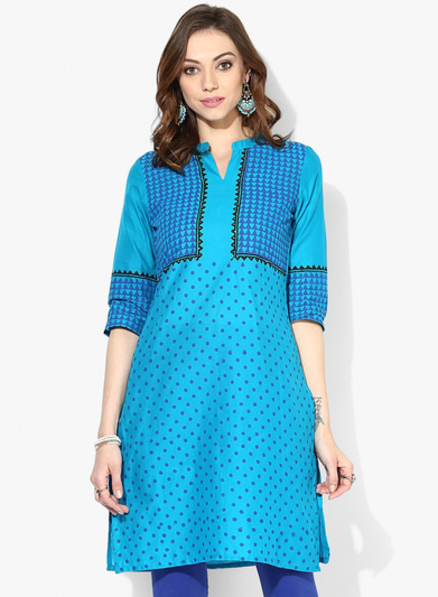 Buy Sangria 3/4Th Sleeves Collar Neck Kurta Online