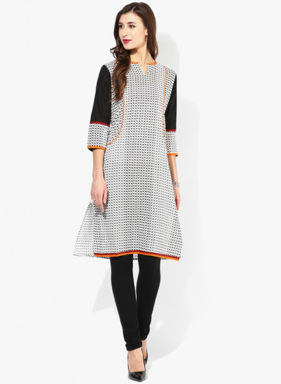 Buy Sangria Henley Neck Geometrical Printed 3/4Th Sleeves Kurta Online