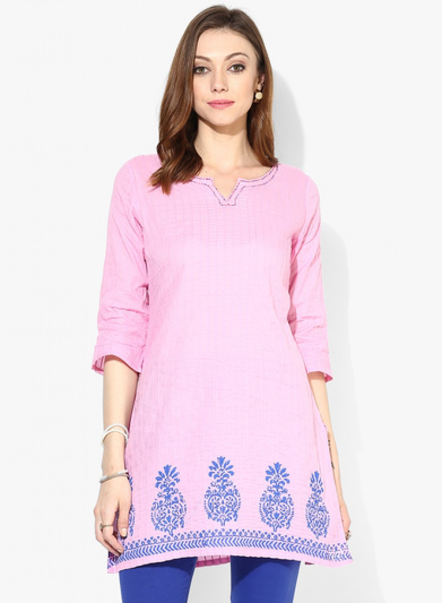 Buy Sangria Placement Striped Pintuck Kurta With 3/4Th Sleeves Online