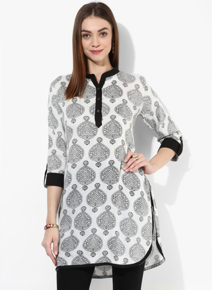 Buy Sangria Round Hem Butta Printed Kurti With Band Collar And 3/4Th Sleeves Online