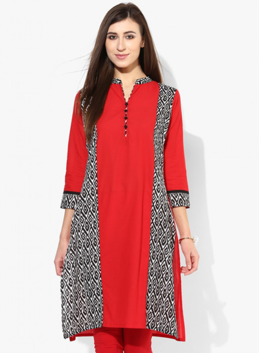 Buy Sangria 3/4Th Sleeves Princessline Kurta With Placket Detail Online