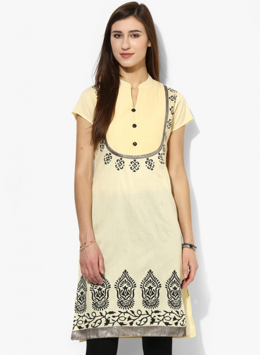 Buy Sangria Short Sleeve Butta Placement Printed Kurta With Printed Yoke Online