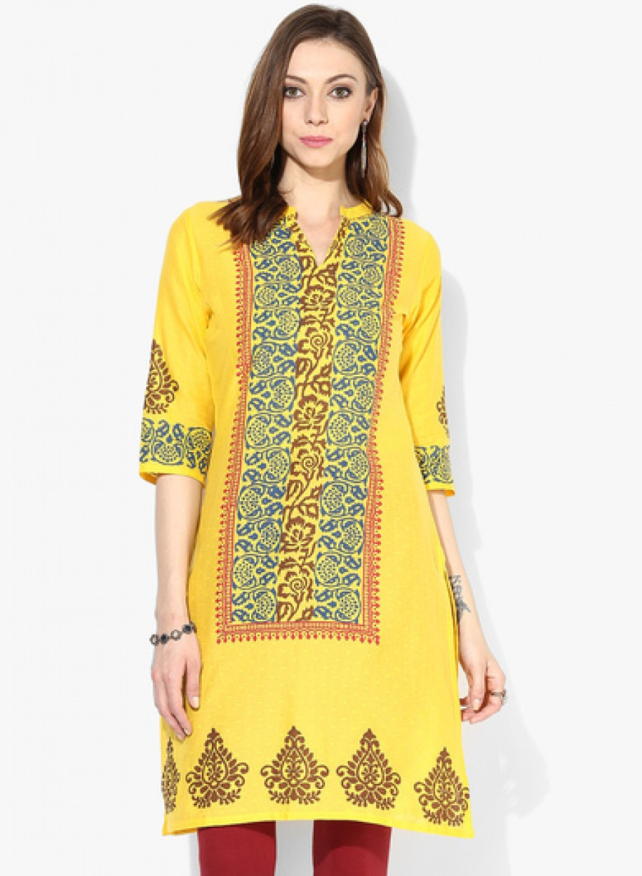 Buy Sangria 3/4Th Sleeves Center Front Placement Kurta Online