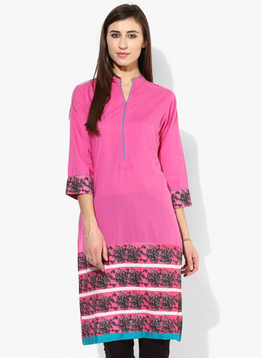 Buy Sangria3/4Th Sleeves Pleated Yoke Kurta With Solid Border Detail Online