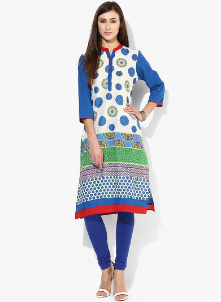 Buy Sangria 3/4Th Sleeves Printed Kurta With Solid Sleeves And Contrast Trims Online
