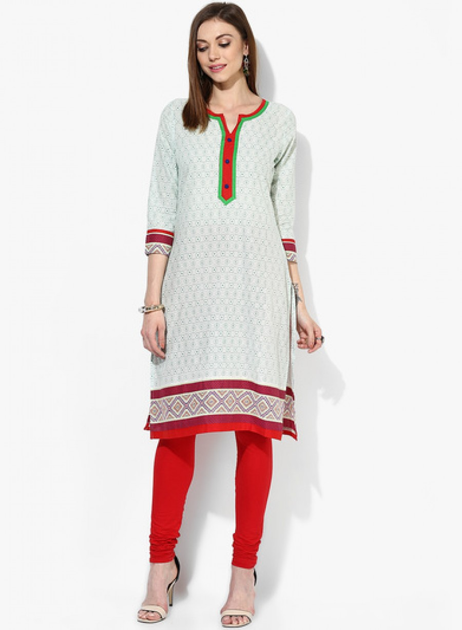 Buy Sangria 3/4Th Length Sleeve Kurta With Printed Border And Embroidered Placket Detail Online