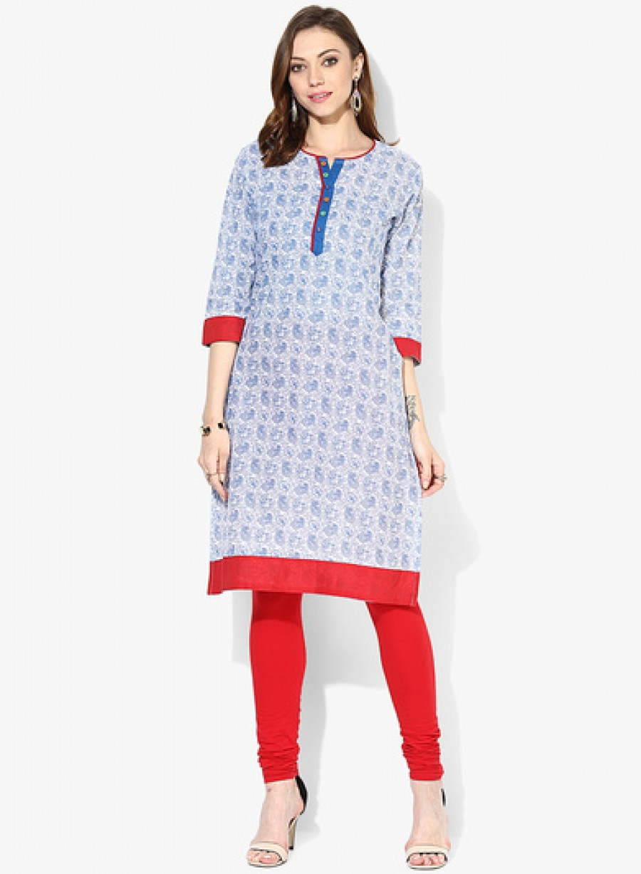 Buy Sangria Henley 3/4Th Sleeves Kurta With Contrast Placket Online