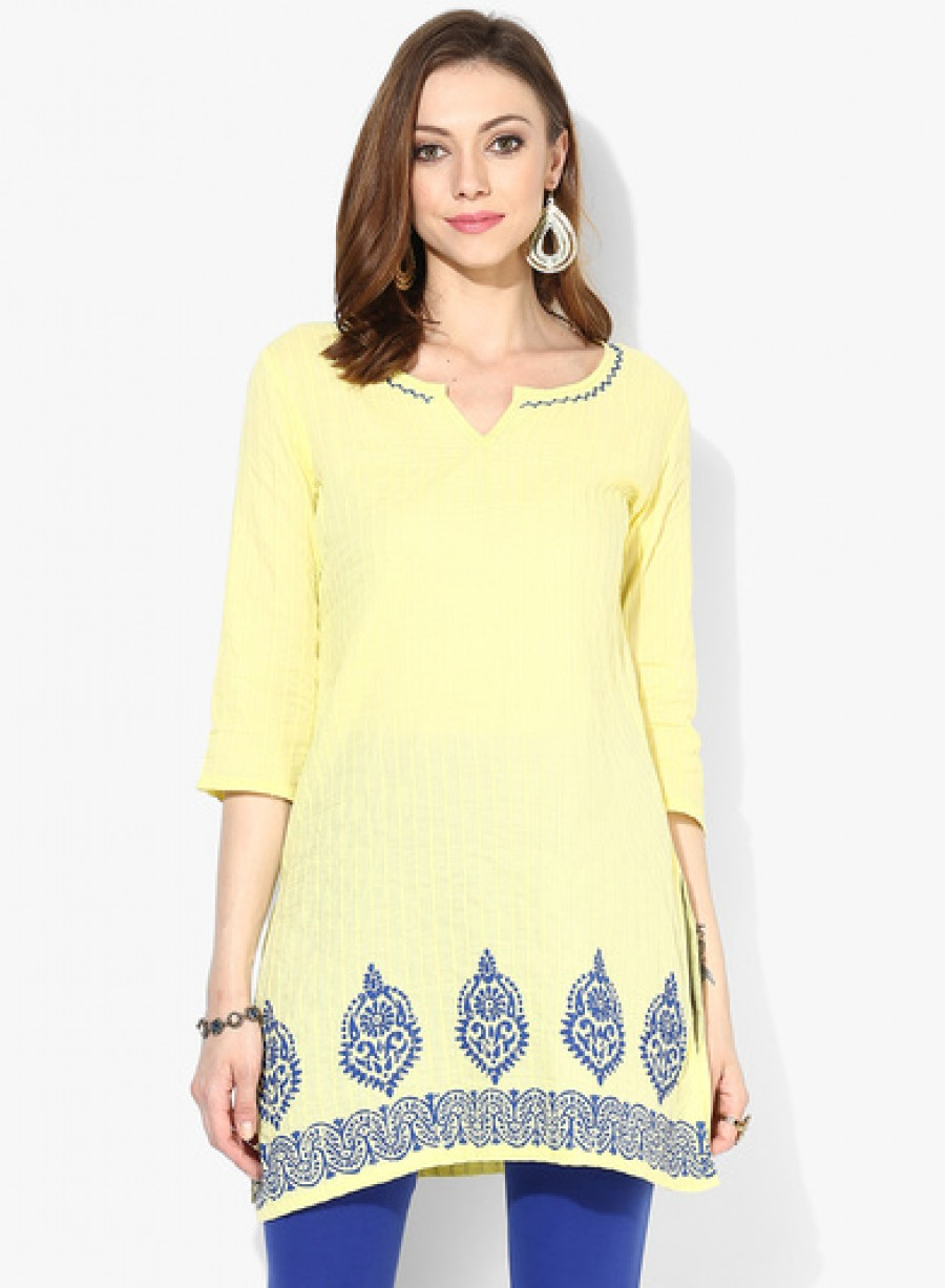 Buy Sangria Placement Print Pintuck Kurta With 3/4Th Sleeves Online