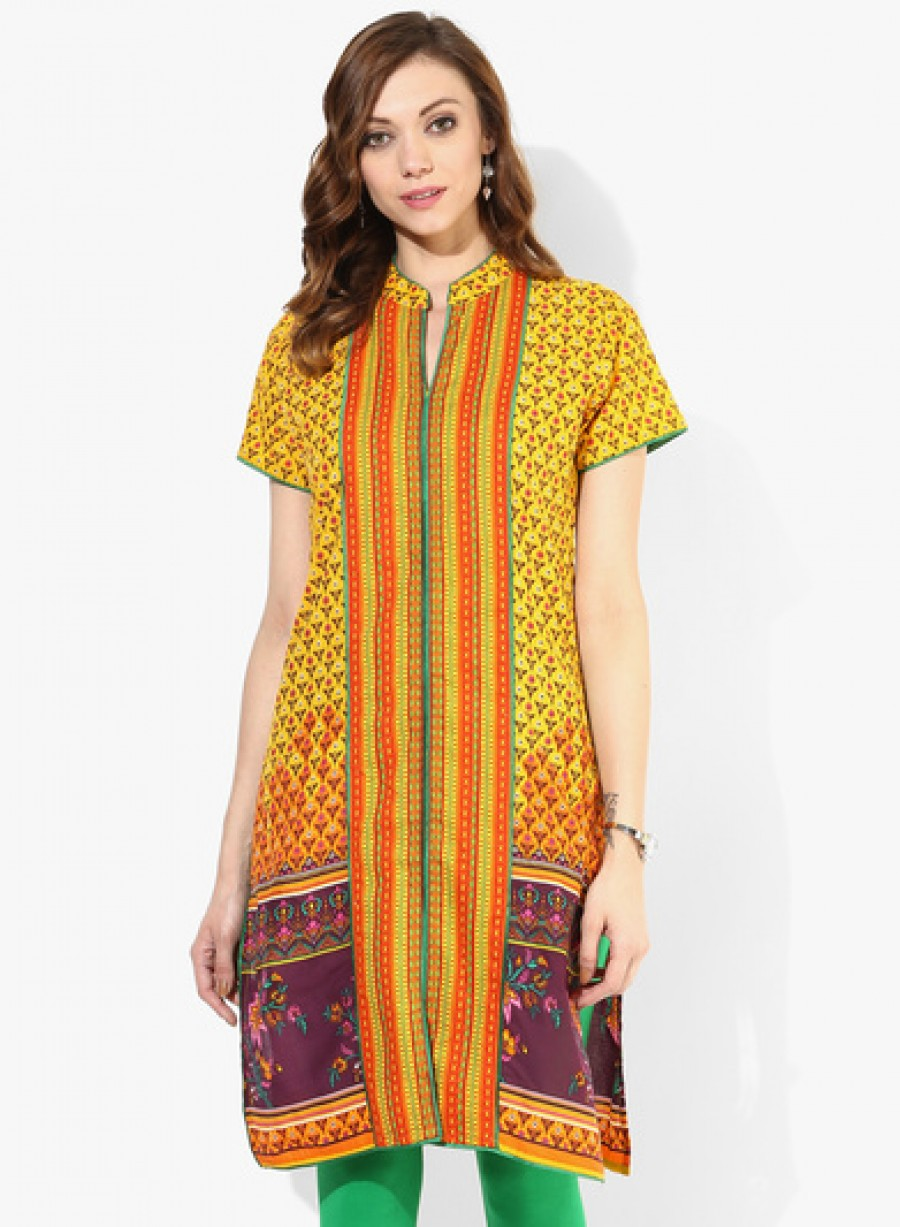 Buy Sangria Band Collar Center Front Border Placement Kurta With Contrast Trim At Center Front And Sleeve Online