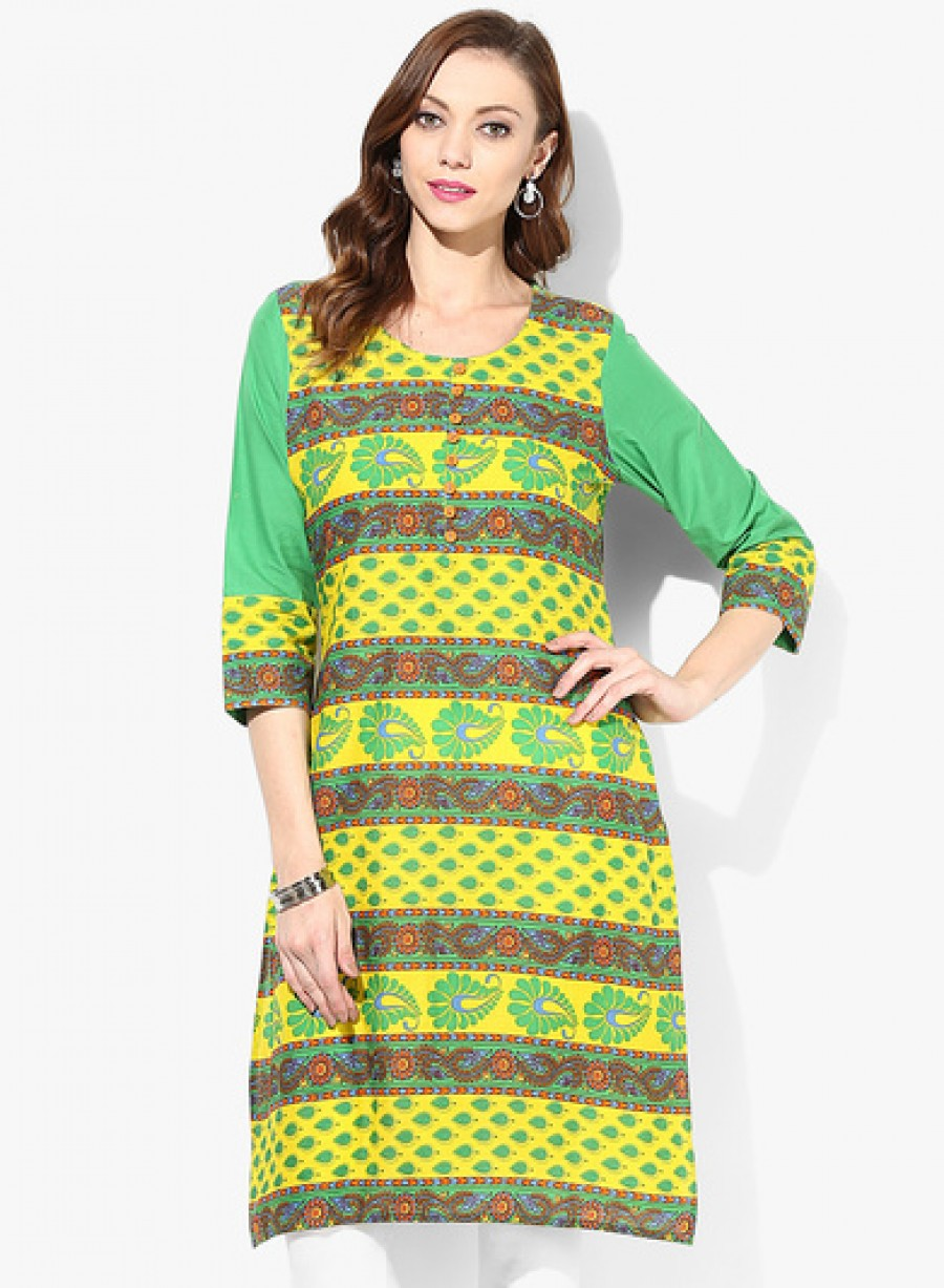 Buy Sangria Horizontal Print Round Neck Kurta With Solid Sleeves Online
