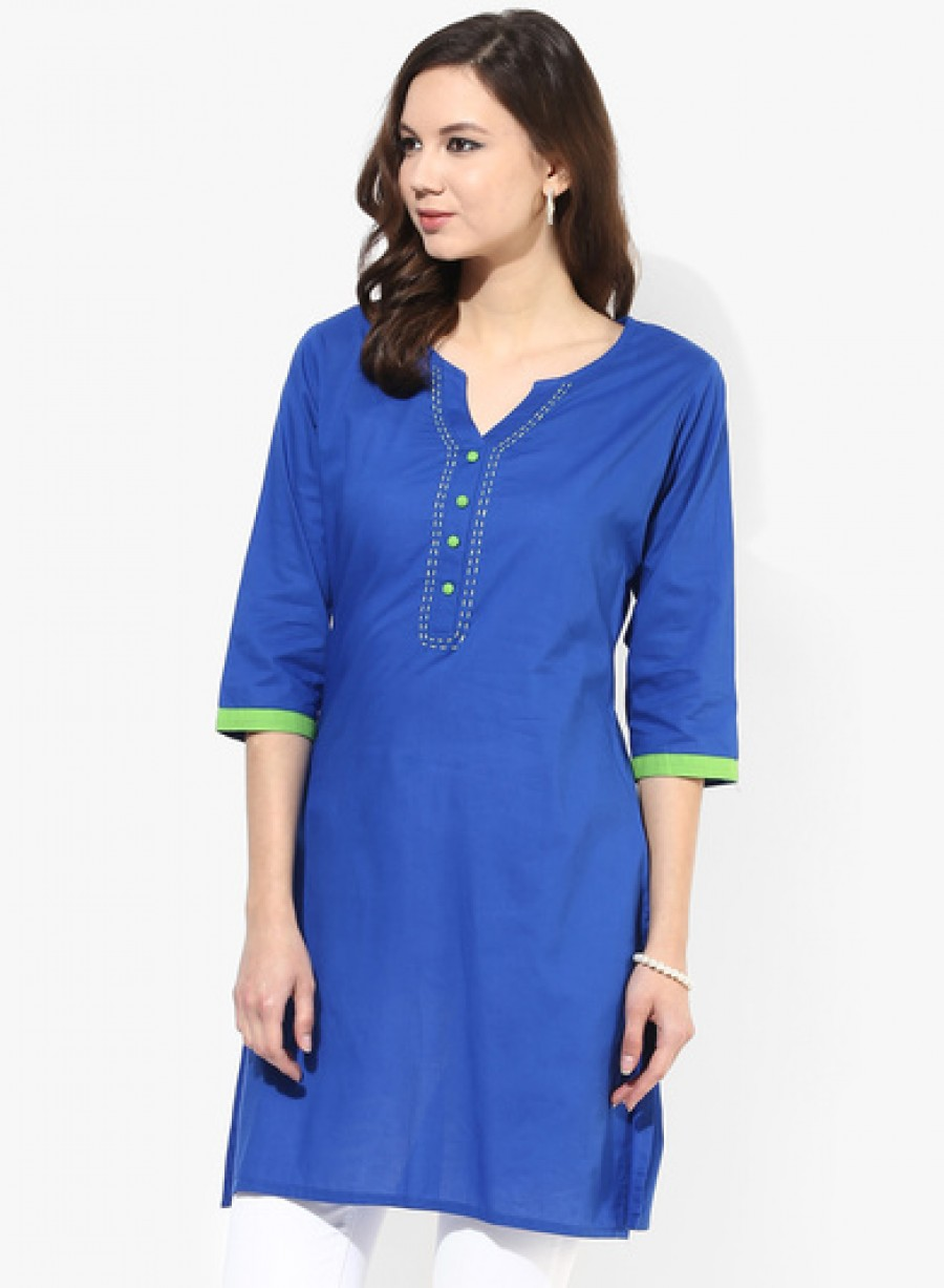Buy Shree Blue Solid Cotton Kurta Online