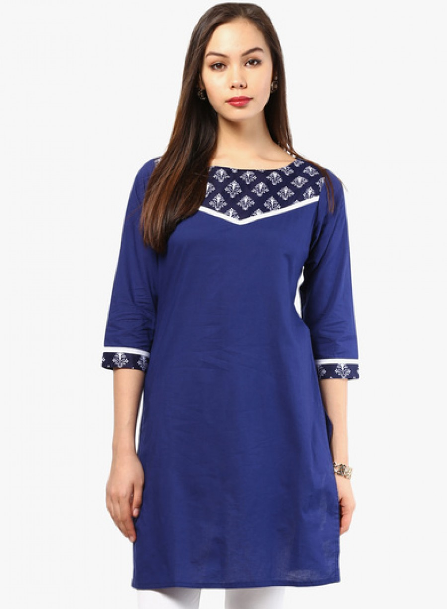 Buy Jaipur Kurti Navy Blue Printed Cotton Kurta Online